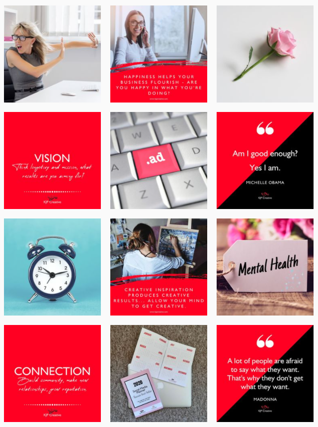 Instagram grid layouts - tiled and diagonal