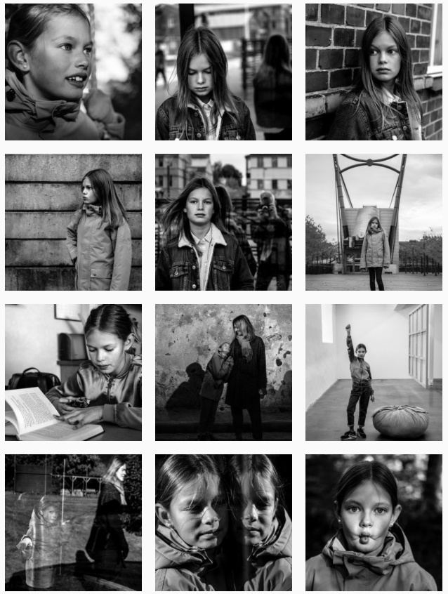 Instagram grid layout - black and white