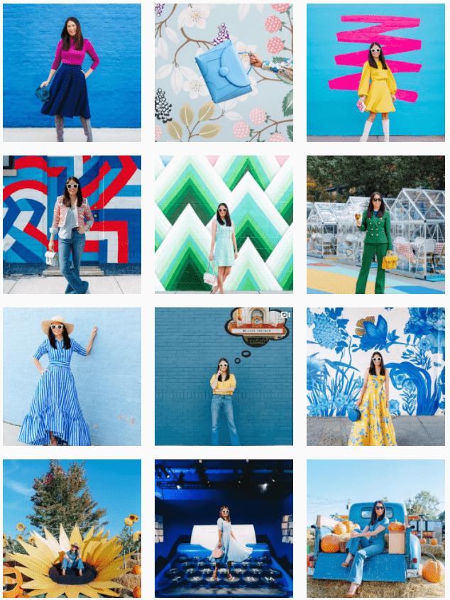 Instagram grid layout - coloured blocks