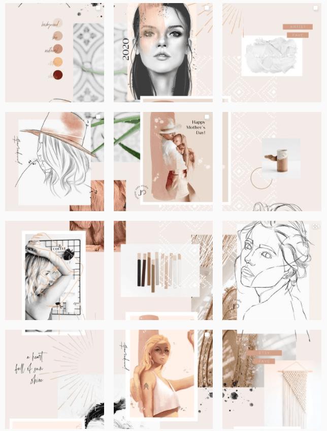 Instagram grid layout - puzzle theme